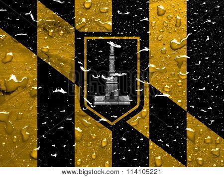 flag of Baltimore with rain drops