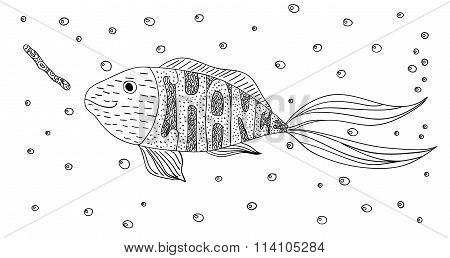 Black And White Ornament Creative Motivational Fish And Worm In The Sea With Bubbles Design Decorati