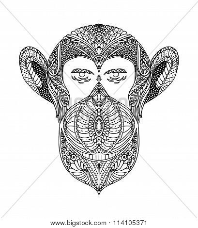 Black And White Ornament Faces Wild Beast Of The Forest Monkeys, Ornamental Lace Design. Page For Ad