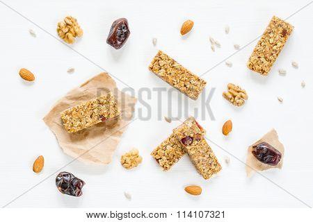 Granola bars, energy bars on white background