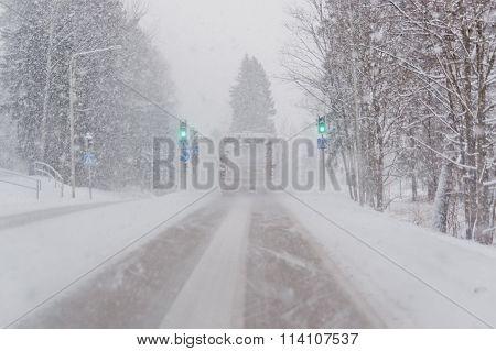 Roadway at winter snowfall