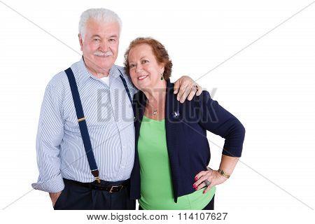 Smiling Senior Couple Over Isolated Background