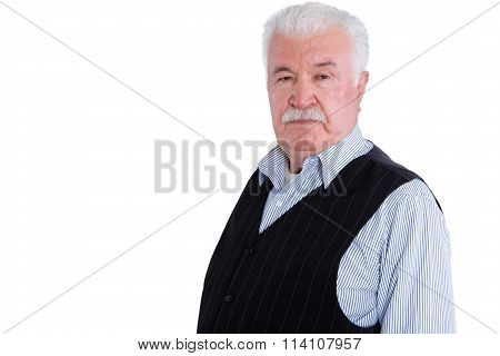 Angry Senior Man With Mustache Over White