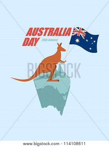 Day Australia. Patriotic holiday State. Kangaroos and Australian flag. Map of Australia and marsupial. poster