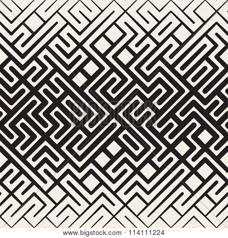 Vector Seamless Black And White Rounded Line Maze Irregular Pattern Halftone Gradient