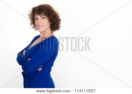 Clean Modern Portrait Of A Mature Professional Business Woman With Ample Copy Space. Isolated On Whi