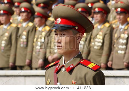 North Korean soldier at the military parade in Pyongyang