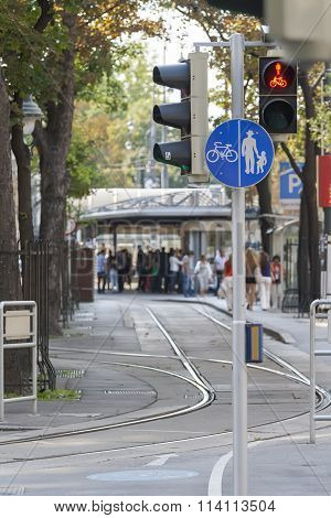 Street With Pedestrian And Bicycle Paths