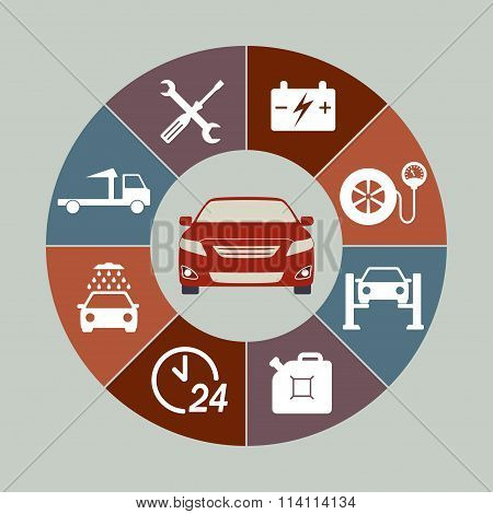 Car service icons set isolated in round chart. Auto service infographics. Vector illustration.
