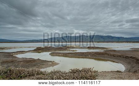 East bay mountains on a cloudy day. Alviso Marina County Park, Santa Clara County, CA