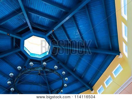 Deep blue roof.  Blue stain on underside of wooden built roof.