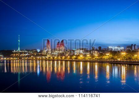 Night photo of Baku Azerbaijan