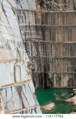 Steep wall of marble quarry in Estremoz