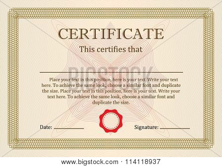 Certificate or Diploma of completion design template with borders. Vector illustration.