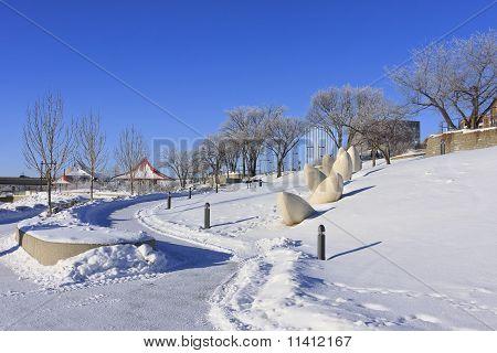 Sidewalk On A Frosty Winter Day