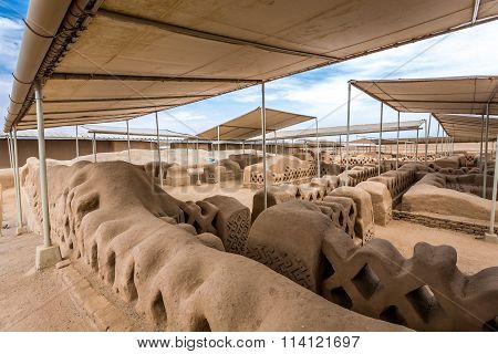 Chan Chan, Peru. Pre-Columbian adobe city in South America.
