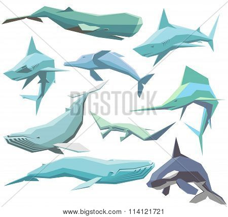 Set Of Geometric Sea Animals