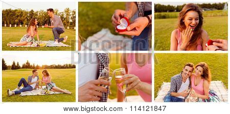 Collage Of Man Doing Beautiful Marriage Proposal To His Girlfriend