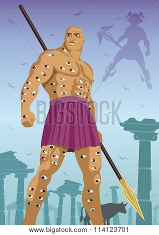 The hundred eyed giant Argus All-seeing standing guard over the cow Io. God Hermes is coming to steal the cow. poster