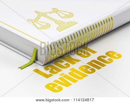 Law concept: book Scales, Lack Of Evidence on white background