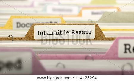 Intangible Assets Concept. Folders in Catalog.