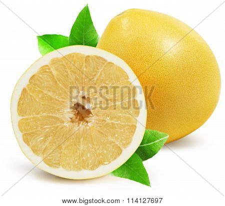 Pomelo With Half Of Pomelo Isolated On The White Background