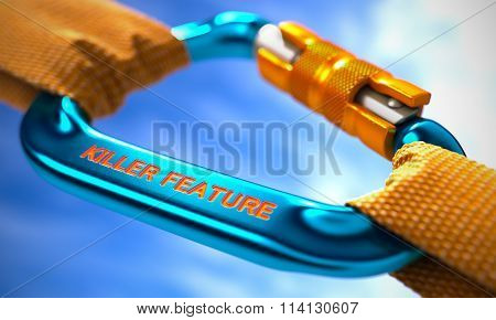 Blue Carabiner with Text Killer Feature.