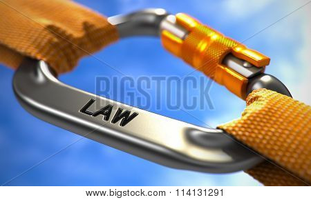 Chrome Carabine Hook with Text Law.