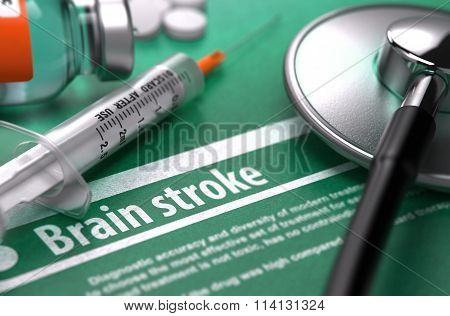 Brain stroke. Medical Concept on Green Background.