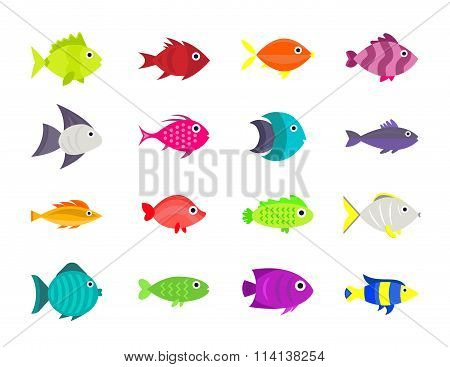 Cute fish vector illustration icons set