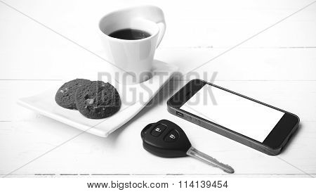Coffee Cup With Cookie,phone And Car Key Black And White Color