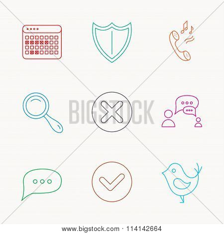 Phone ringtone, chat speech bubble icons.