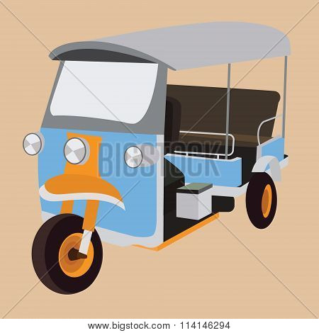 tuk tuktuk thailand iconic transportation rickshaw transport city bangkok taxi vector