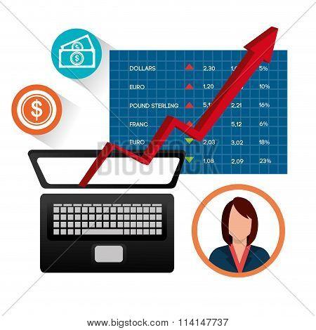 Stock market and economy graphic design