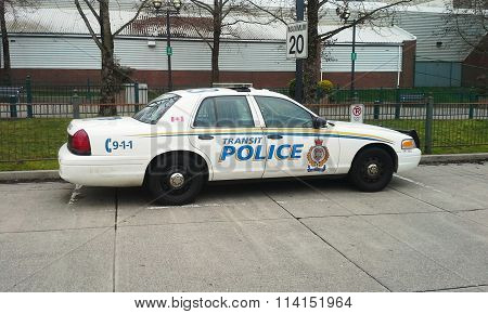 SURREY, BC, CANADA.  FEBRUARY 26, 2015.  A Transit Police car of the Greater Vancouver Transportation Authority Police Service at Surrey Central Station, near Vancouver, BC.