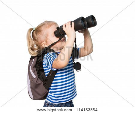 Little Funny Girl Looking Through Binoculars.