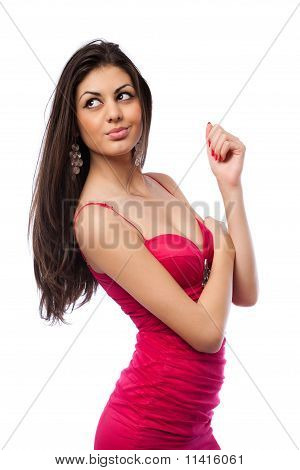 Attractive Young Hispanic Lady In Red Dress