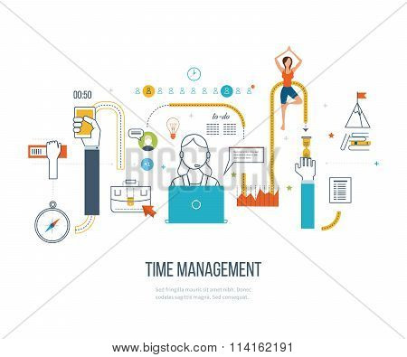 Time management concept planning, organization, working time