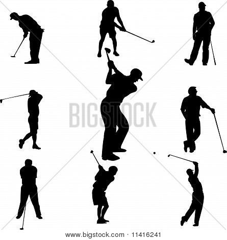 set of golf - vector
