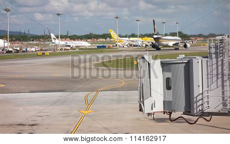 Changi, Singapore - January 12, 2016:the Jetway At Changi Airport