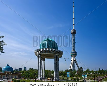 Uzbekistan. Tashkent. View of the TV tower from the complex of memory of victims of repression