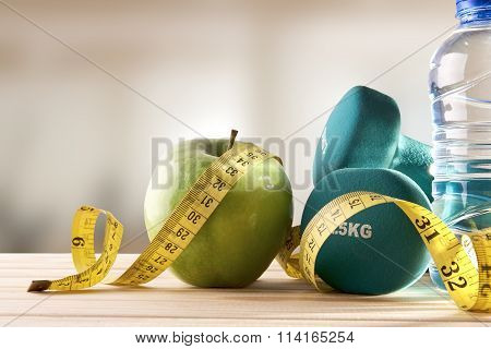 Lifestyle Health Diet And Sports Gym Background Front View