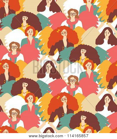 Crowd inspirational muses woman with wings seamless pattern.