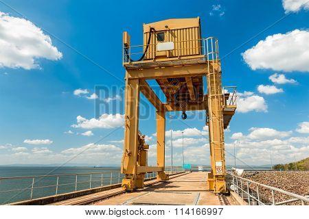 Large Gantry Crane On Blue Sky At Dam