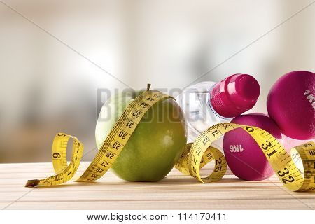 Women Lifestyle Health Diet And Sports Gym Background Front View