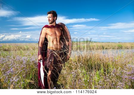 Fighting Ancient Warrior In Landscape Background
