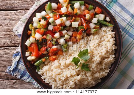 Couscous With Vegetables And Herbs Closeup. Horizontal Top View