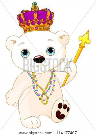 Illustration of polar bear wearing Mardi Gras costume