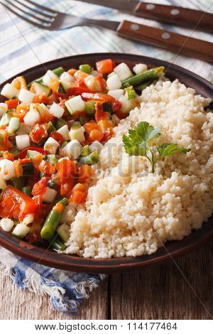 Vegan Couscous With Vegetable On A Plate Closeup. Vertical