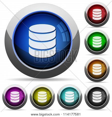 Set of round glossy Database buttons. Arranged layer structure. poster